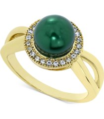 charter club gold-tone pave & imitation pearl halo split ring, created for macy's