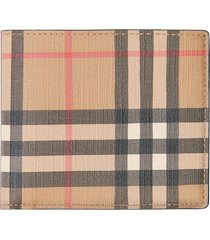 burberry vintage check e-canvas international bifold wallet - brown