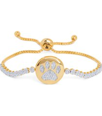 diamond accent dog paw adjustable bracelet in gold-plate