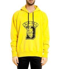 diesel men's alby logo varsity hoodie - yellow - size l
