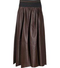 brunello cucinelli leather midi skirt - brown