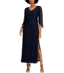connected petite sequin lace gown