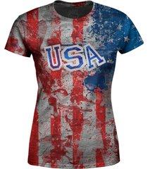camiseta baby look feminina estados unidos eua md02 - vermelho - feminino - poliã©ster - dafiti