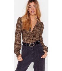 womens animal print cropped blouse with button-down closure - brown