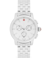 stainless steel & diamond chronograph bracelet watch