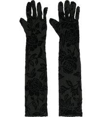 simone wild floral velvet gloves - black