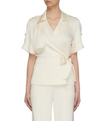 'kelsey' front wrap satin blouse