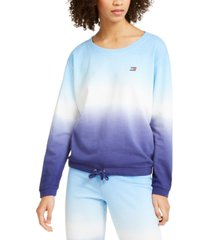tommy hilfiger sport cotton ombre wide-neck sweatshirt
