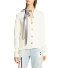women's monse asymmetrical ribbon tie neck cardigan