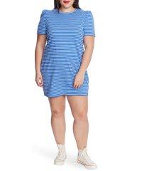 plus size women's court & rowe stripe puff sleeve cotton knit t-shirt dress