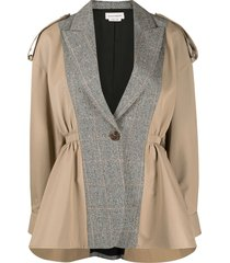 alexander mcqueen panelled trench jacket - neutrals