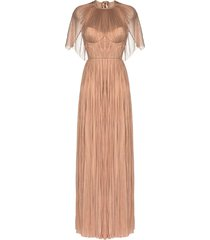 maria lucia hohan candace cape-effect plissé gown - neutrals