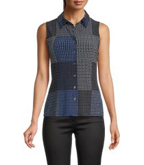 tommy hilfiger women's pysp printed sleeveless top - midnight - size s