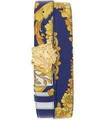 men's versace palazzo medusa reversible leather belt, size 95 eu - cobalt blue/multi/gold