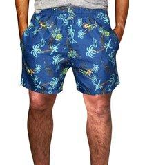 shorts praia estampado   microfibra azul com bolsos laterais ref.386.27