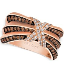 le vian chocolatier pleated diamond x ring (3/4 ct. t.w.) in 14k rose gold