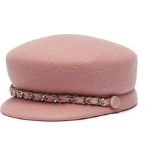 'sabrina' chain wool felt newsboy cap