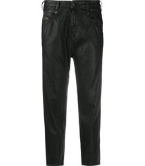 diesel high-rise cropped coated jeans - black