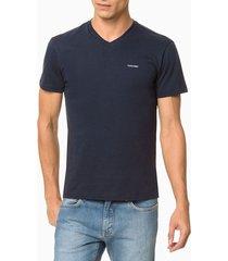 camiseta slim flamê gola v calvin klein - marinho - pp