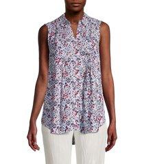 beach lunch lounge women's desi sleeveless floral shirt - skylark - size l