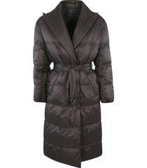 brunello cucinelli tie-waist plain padded coat