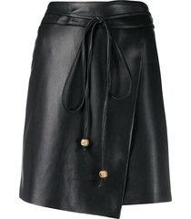 nanushka belted a-line skirt - black