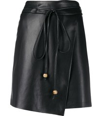 nanushka sekoya vegan leather wrap skirt - black