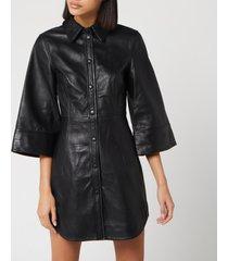 ganni women's leather shirt dress - black - eu 36/uk 8