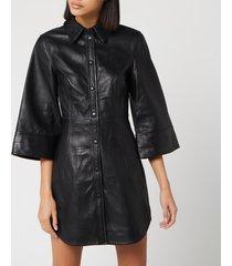 ganni women's leather shirt dress - black - eu 40/uk 12