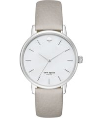 kate spade new york women's metro clocktower gray leather strap watch 34mm ksw1141