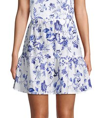 floral-print linen mini skirt