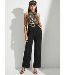 yoins bolsillos laterales con cinturón de leopardo multicolor sin mangas mono