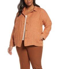 plus size women's eileen fisher classic collar organic linen jacket