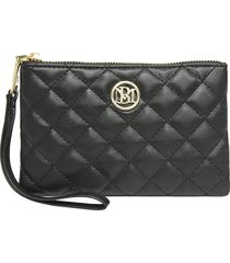 badgley mischka women's quilted faux leather wristlet - green