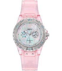 guess women's pink transparent silicone strap watch 39mm