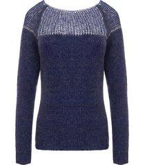sweter ze srebrną nitką ciemny niebieski