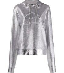 karl lagerfeld address logo hoodie - silver