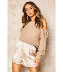 slash neck crop fisherman sweater, stone