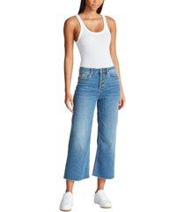vigoss jeans exposed-button wide-leg jeans