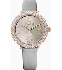 orologio crystal frost, cinturino in pelle, grigio, pvd oro rosa