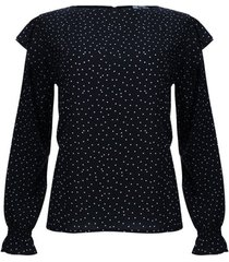 blusa estampada con arandela color negro, talla 10