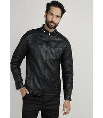 jaqueta masculina biker slim com bolsos preta