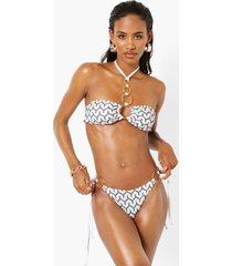 jacquard tanga bikini broekje met ring detail, white