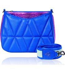 bolsa tiracolo de couro dayana azul royal matelasse - tricae