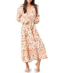 women's rip curl desert dawn floral long sleeve maxi dress, size x-small - beige