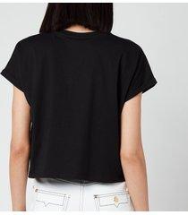 balmain women's cropped printed logo t-shirt - noir/anis - l