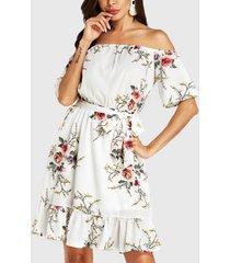 yoins corbata blanca con hombros descubiertos y estampado floral diseño vestido