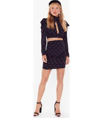womens dot on our watch satin crop top - black