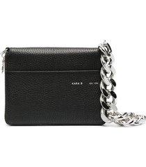 kara chunky chain satchel bag - black