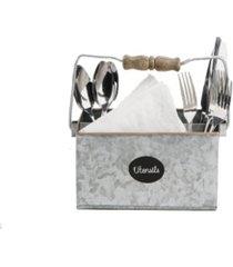 mind reader wood and galvanized utensils caddy, 3 section flatware organizer
